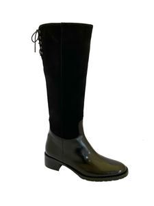 HB Shoes Ladies 1028 black Low Heel Knee High Boot