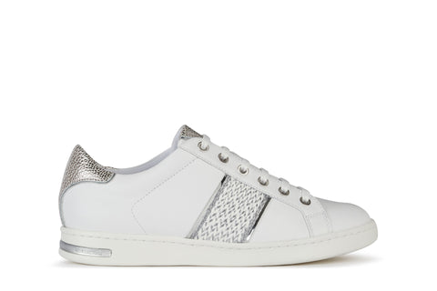 Geox Ladies Jaysen Lace Up Sneaker White/silver