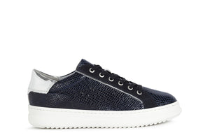 Geox Ladies Pontoise Flatform Lace Up Seaker Navy