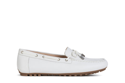 Geox Ladies Leelyan White Loafer
