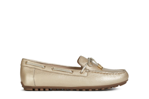 Geox Ladies Leelyan Pale Gold Metallic Loafer