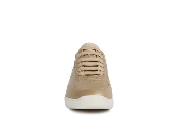 Geox Ladies Rubidia Pale Gold Lace Up Leather Casual Sneaker