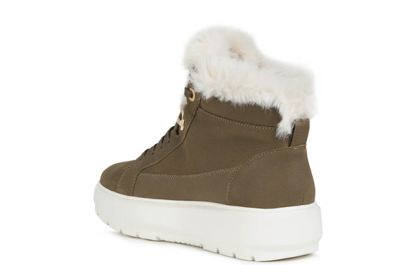 Geox Ladies Kaula Lace Up Faux Fur Trim Lace Sneaker Boot