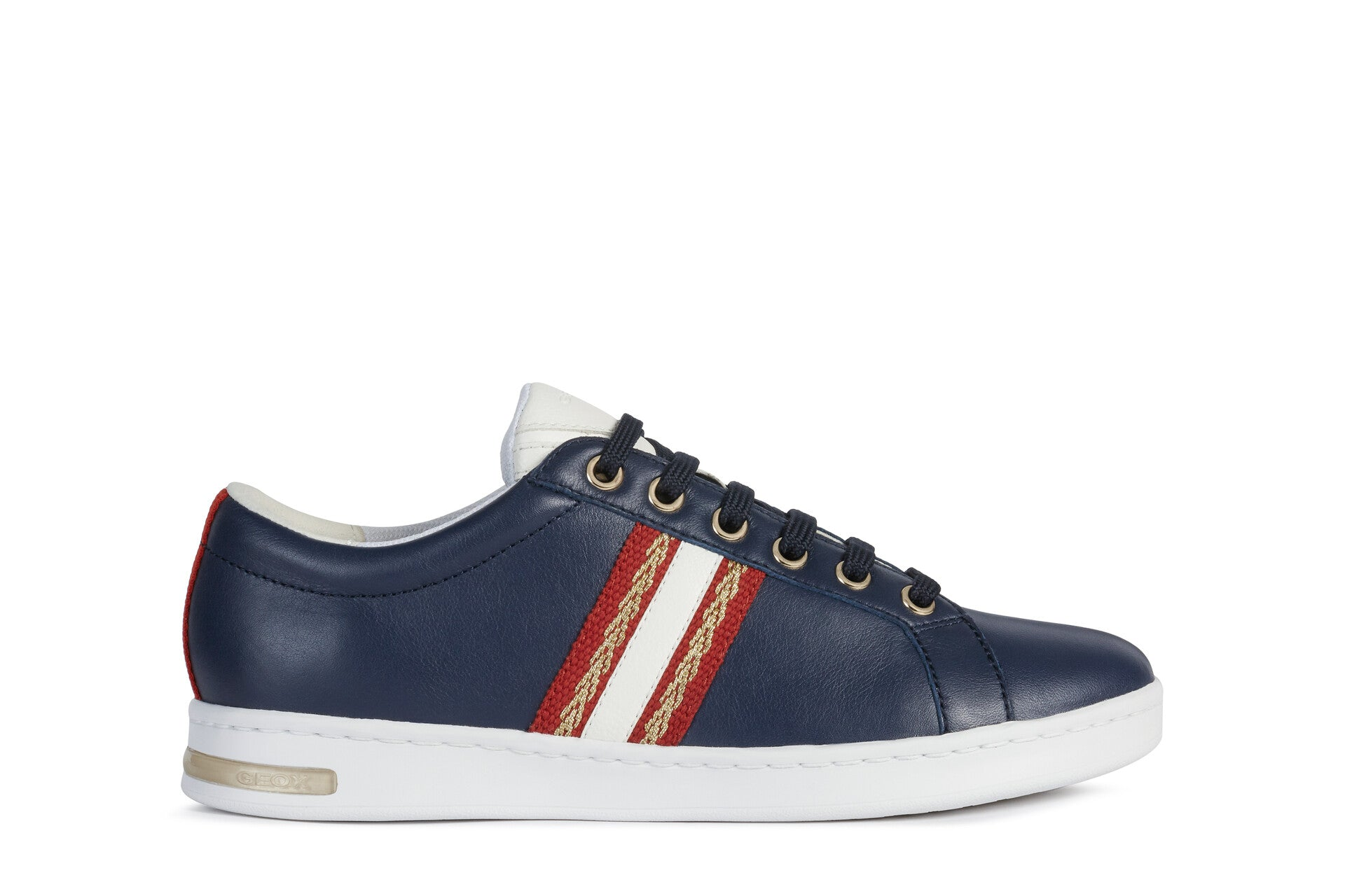 Geox Ladies Jaysen Navy Leather Lace Up Flat Sole Sneaker