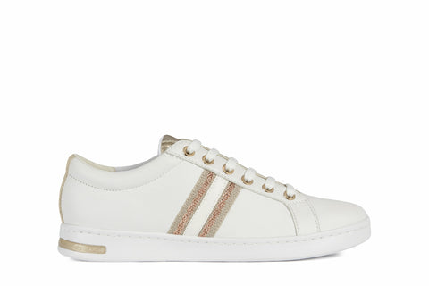 Geox Ladies Jaysen White Gold Trim Flat Soled Sneaker