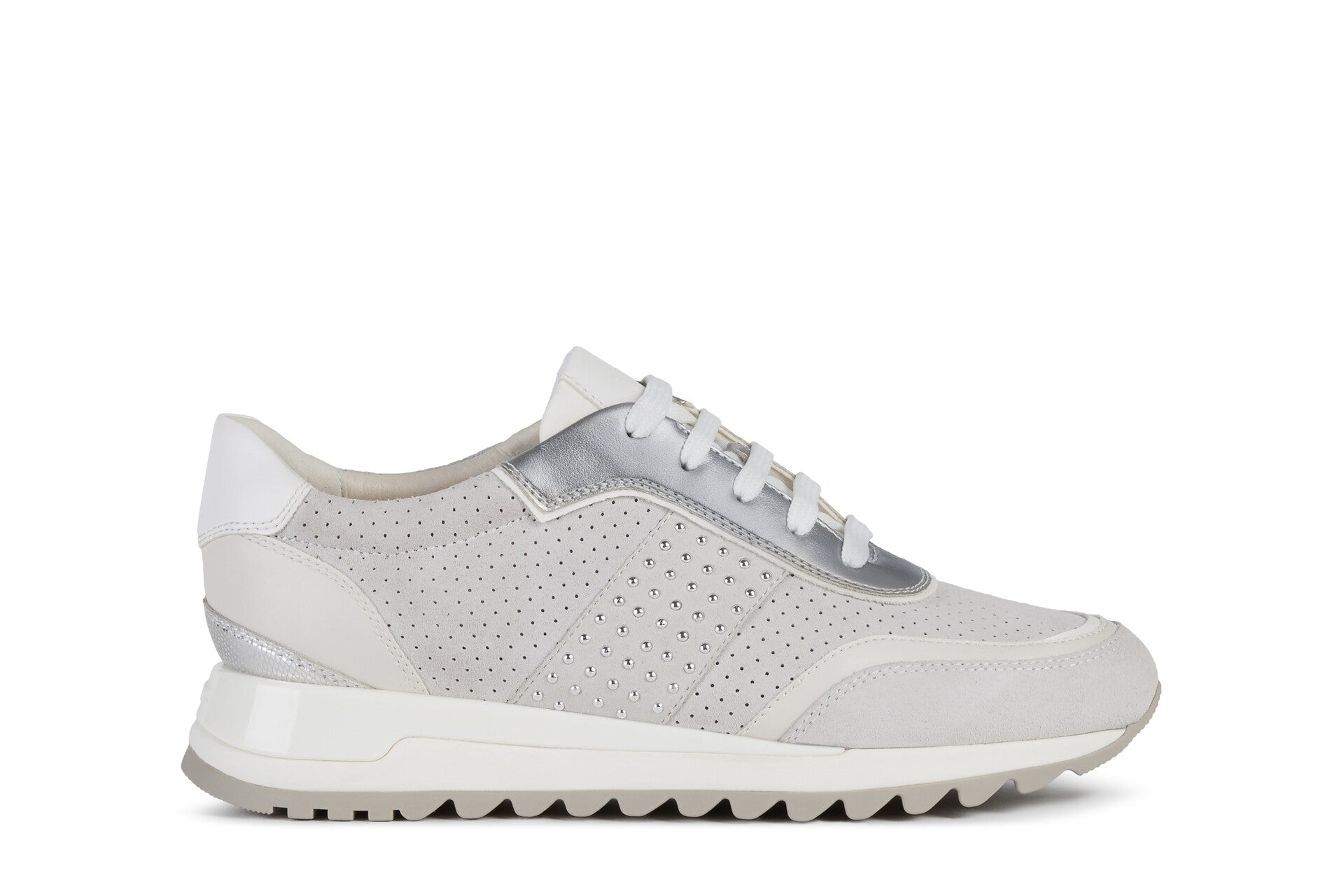 Geox Ladies Tabelya Off white Lace Up Sneaker