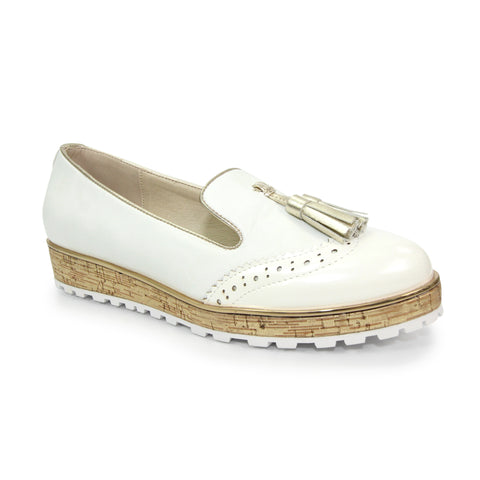 Lunar Ladies Michaela White Tassel Loafer