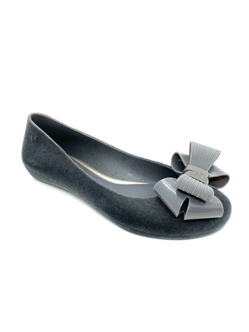 Pop Flock Bow Luxe Ballerina Pumps