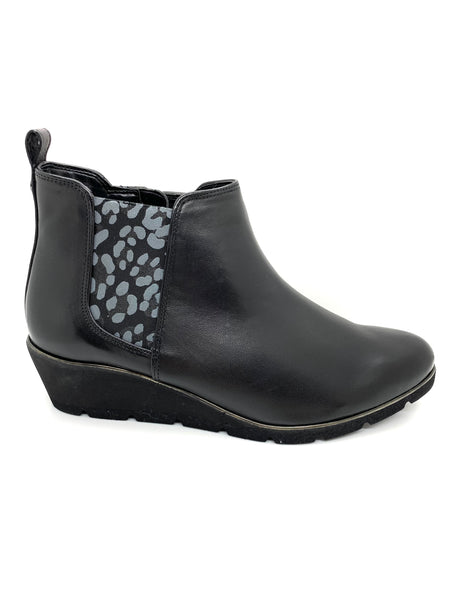Van Dal Russet Black Leather Wedge Ankle Boot