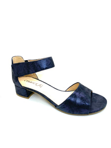 Caprice Ladies Block Heel Sandal Navy Print