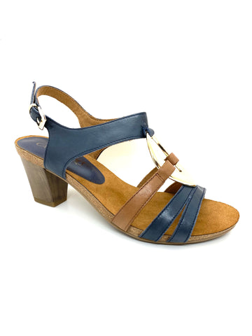 Caprice Ladies Strappy Sandal Navy Combination
