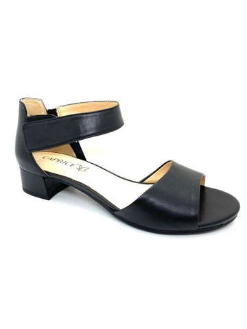 Caprice Ladies Block Heel Sandal Black Leather