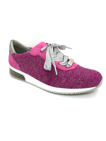 Ara Ladies Lissabon Fusion lace Up Trainer Pink Glitz