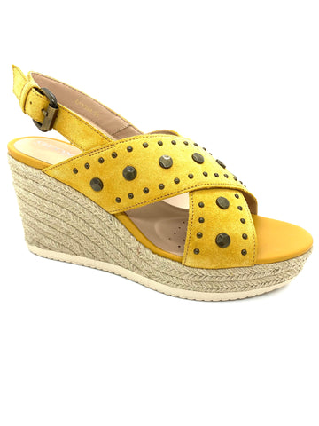 Geox Ladies Ponza Sling Back Wedge Sandal Yellow