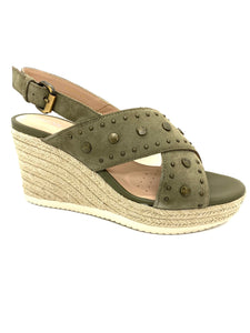 Geox Ladies Ponza Sling Back Wedge Sandal Olive