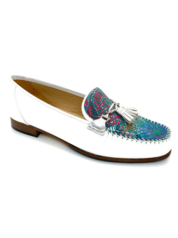 HB Shoes Ladies Low Heel Tassle Trim Loafer