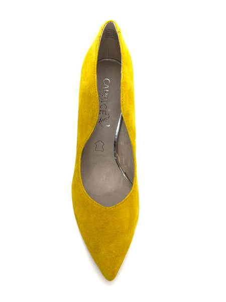 Caprice Ladies Court Shoe Yellow Suede