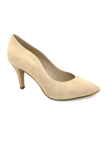 Caprice Ladies Court Shoe Beige Nubuck