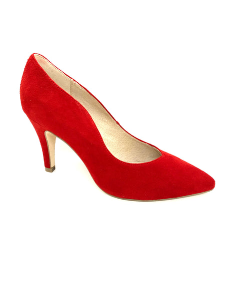 Caprice Ladies Court Shoe Red Suede
