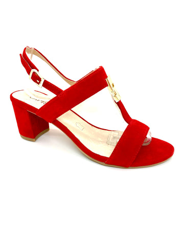 Caprice Ladies T Strap Sandal Red
