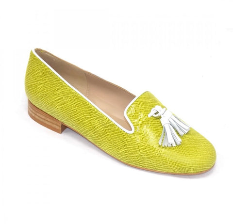 HB Shoes Clover Lemon White Trim Tassel Loafer
