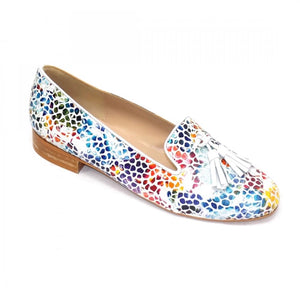 HB Shoes Pebble Multi Print Tassel Trim Pump