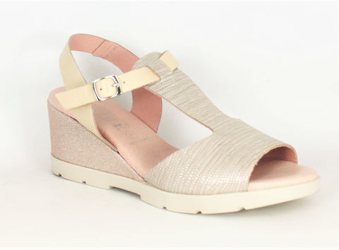 Vibora T Bar Mid Wedge Heel Sandal