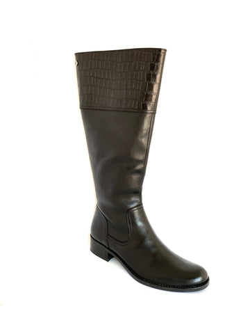 Caprice Ladies Long Boot Croco Trim
