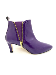HB Shoes Janet Zip Trim Ankle Boot Purple Patent