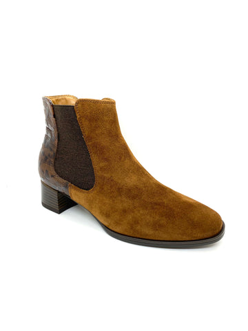 Ara Ladies Brown Suede Block Heel Ankle Boot
