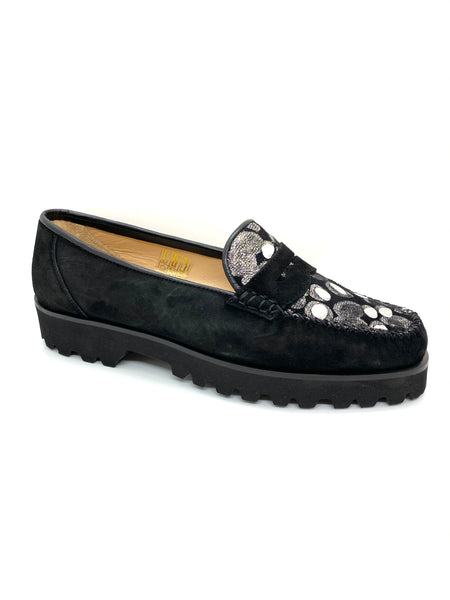 Chunky Low Heel Suede Moccasin Loafer