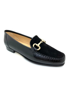 Low Heel Moccasin Loafer With Gold Trim