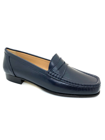 Leather Low Heel Moccasin Loafer