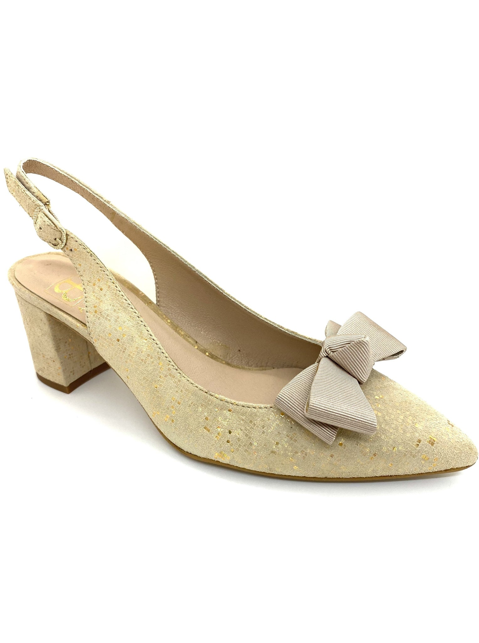 Oregon Mid Heel Slingback Shoe With Ribbon Bow Trim