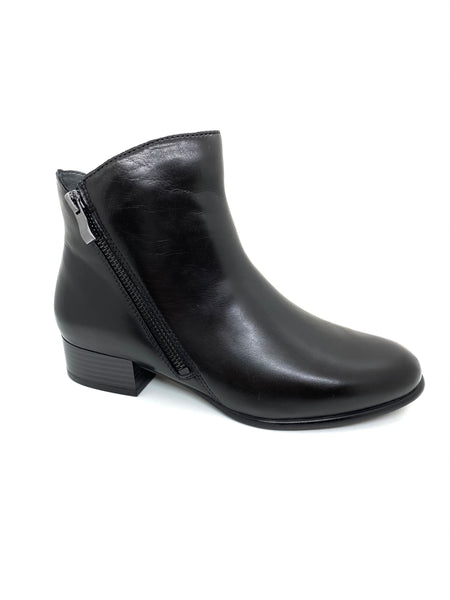 Amelie Low Block Heel Ankle Boot With Double Zip Feature