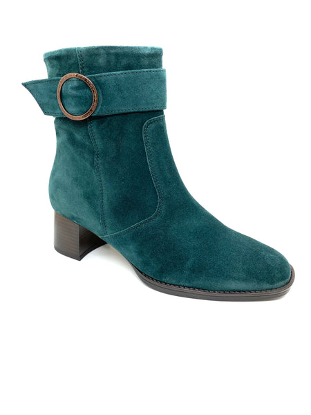 Ara Ladies Peacock Suede Block Heel Ankle Boot