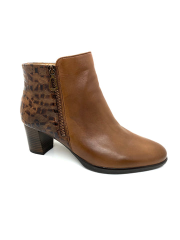 Ara Ladies Heeled Zip Ankle Boot Tan