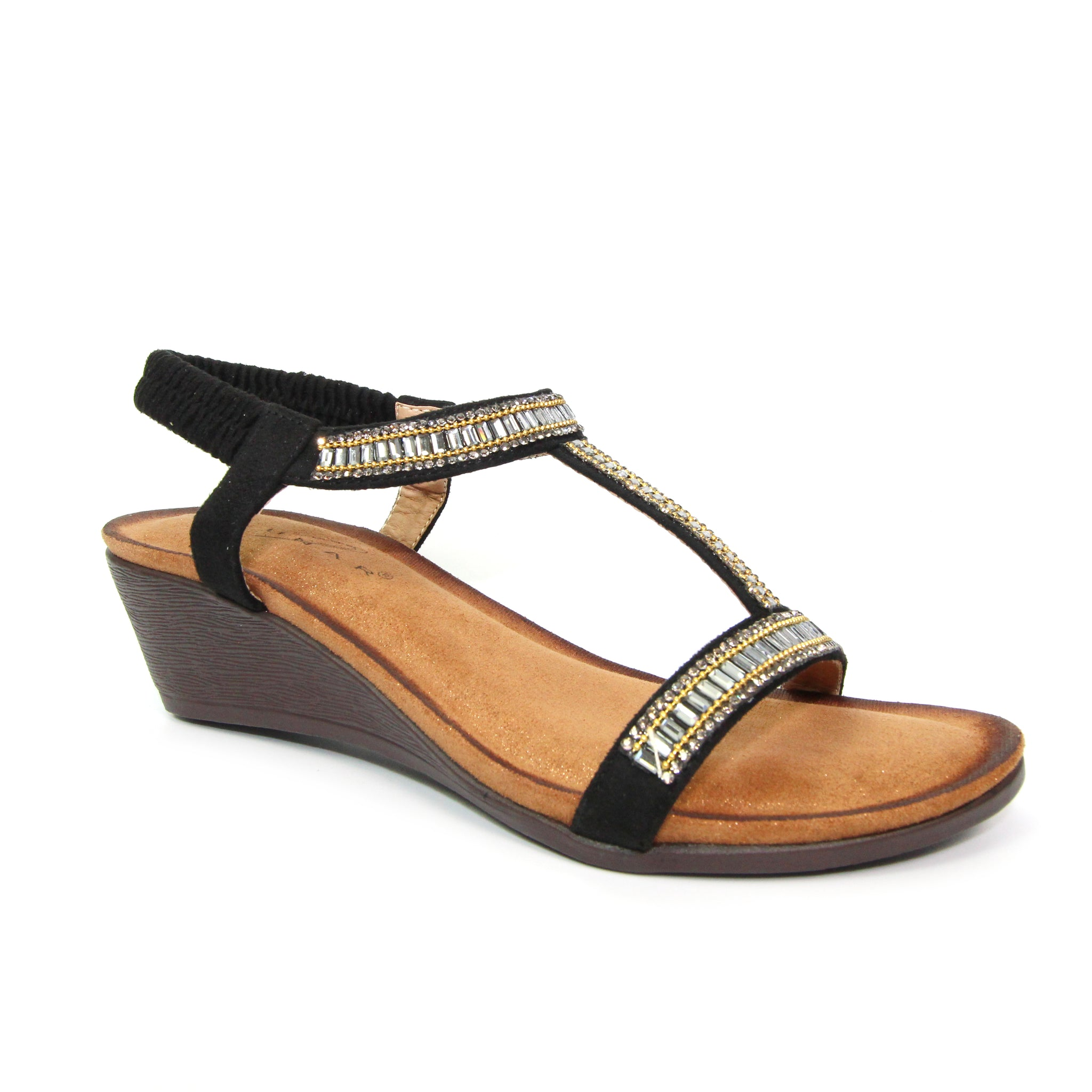 Lunar Tabitha Ladies Black Wedge Sandal
