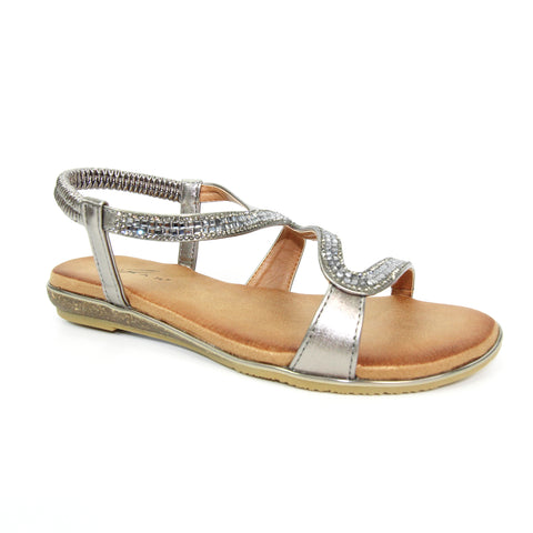 Lunar Ladies Emilia Pewter Sparkle Sandal