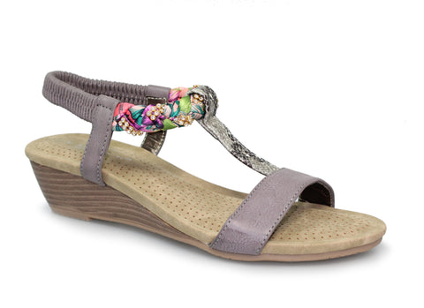 Lunar Ladies Fern Wedge Sandal With Diamante Trim