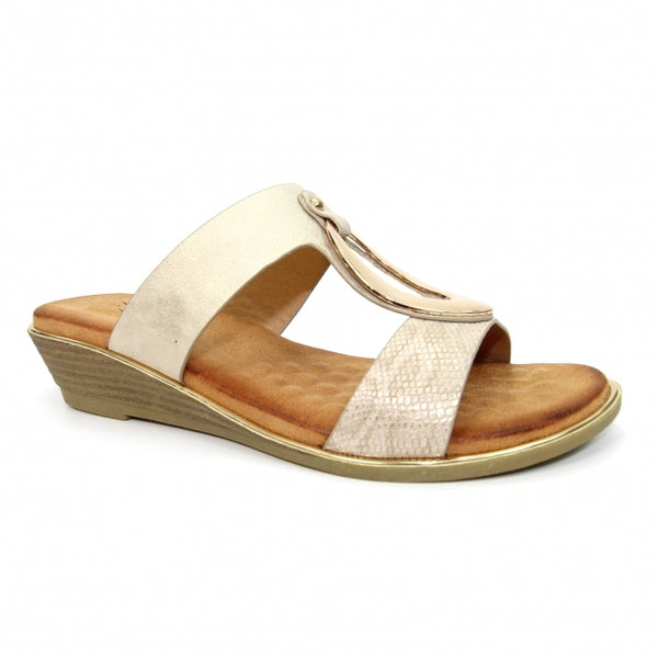 Lunar Ladies Pennita Ladies Mule Sandal Gold
