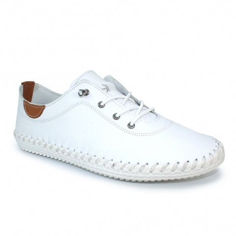 Lunar Ladies St.Ives Leather Lace Up Shoe White