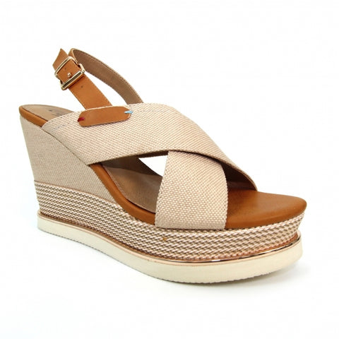 Lunar Ladies Lorna High Wedge Sandal Beige