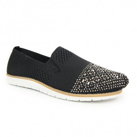 Lunar Ladies Owen Stretch Flat Casual Shoe Black