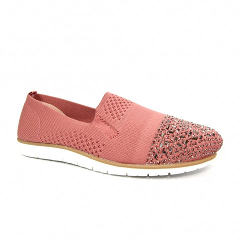 Lunar Ladies Owen Stretch Flat Casual Shoe Pink