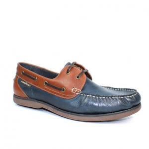 Goodyear Mens Boat Shoe Navy Tan