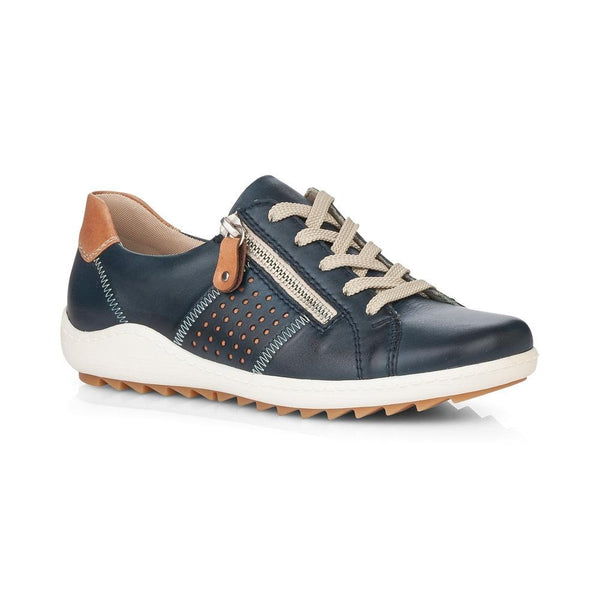 Remonte Ladies Zip Sided Lace Up Shoe Navy
