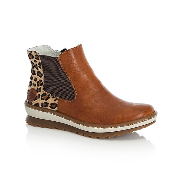Rieker Ladies Elastic Sided Leopard Trim Ankle Boot