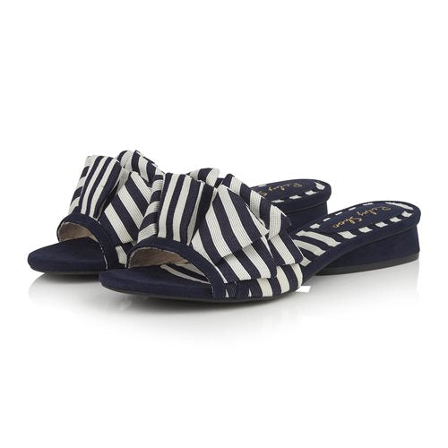 Ruby Shoo Ladies Alena Navy Stripe Fabric Mule Sandal