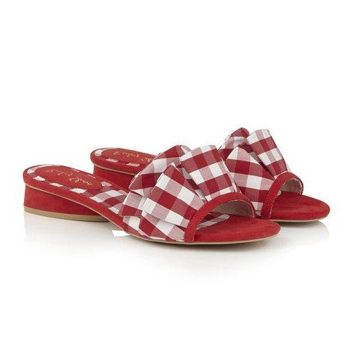 Ruby Shoo Ladies Alena Red Check Fabric Mule Sandal
